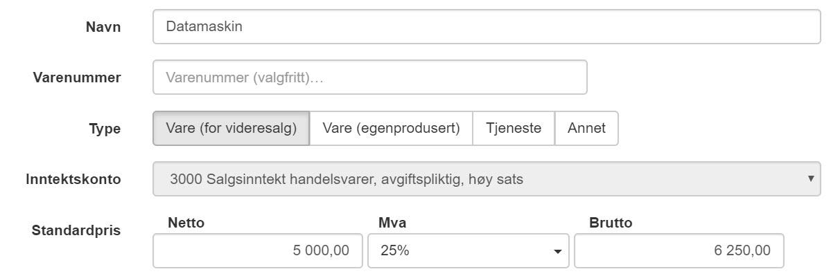 Skjermbilde fra Fiken som viser automatisk valg av inntekskonto