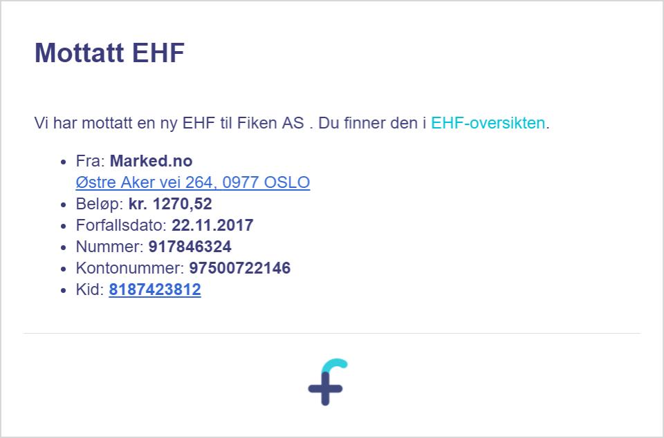 Sende EHF fra Fiken