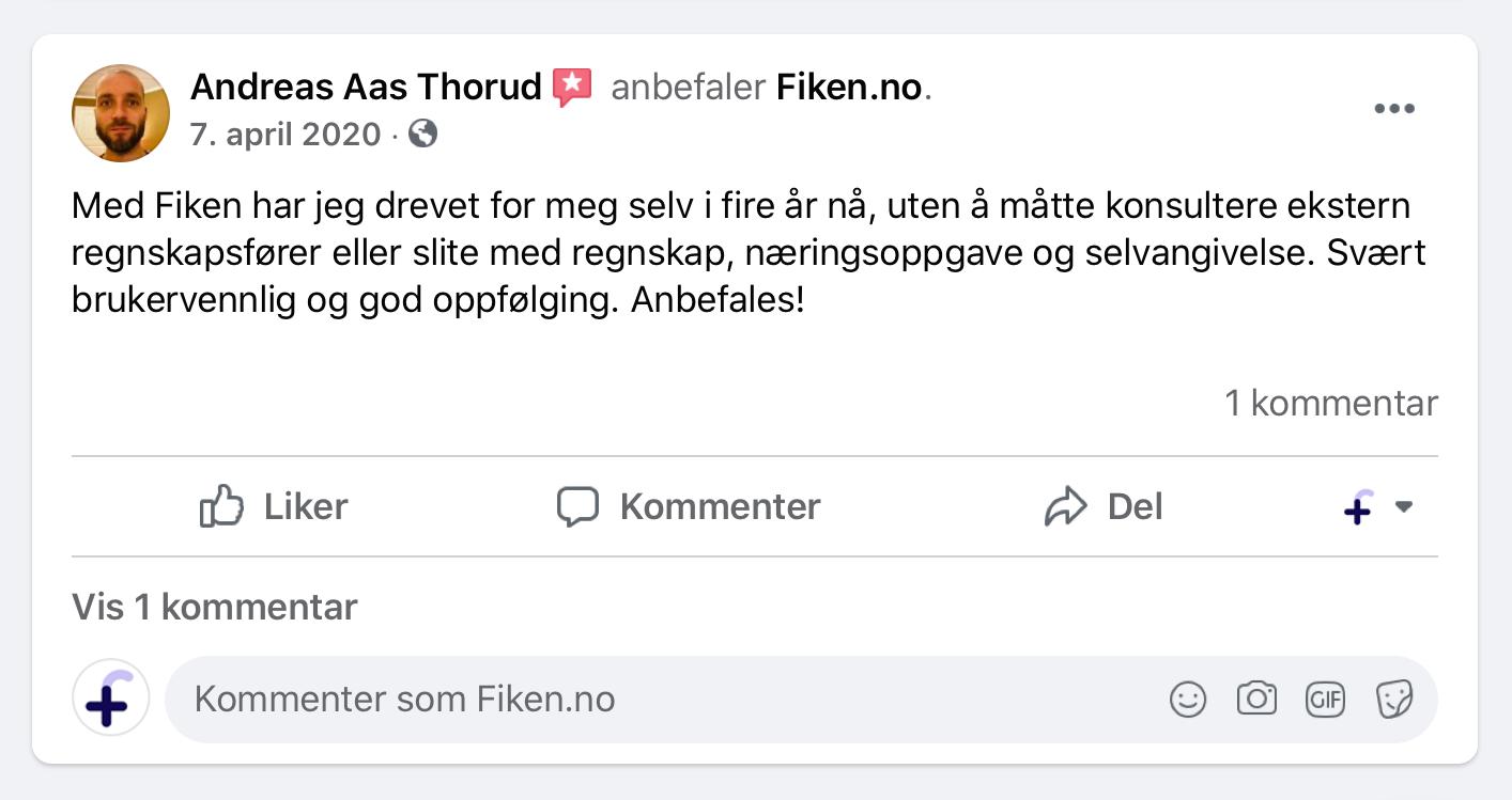 Skjermbilde av en postiv anmeldelse av Fiken fra Facebook