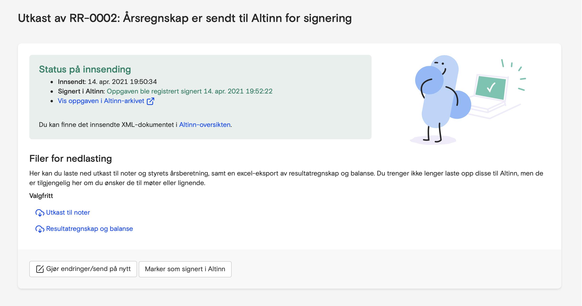 Skjermbilde fra Fiken som viser at årsregnskap er sendt til Altinn!