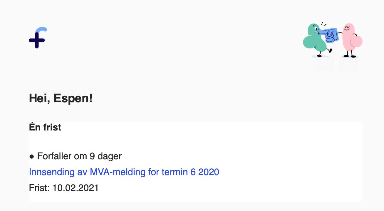 Skjermbilde som viser eksempel på på e-postpåminnelse om regnskapsfrist