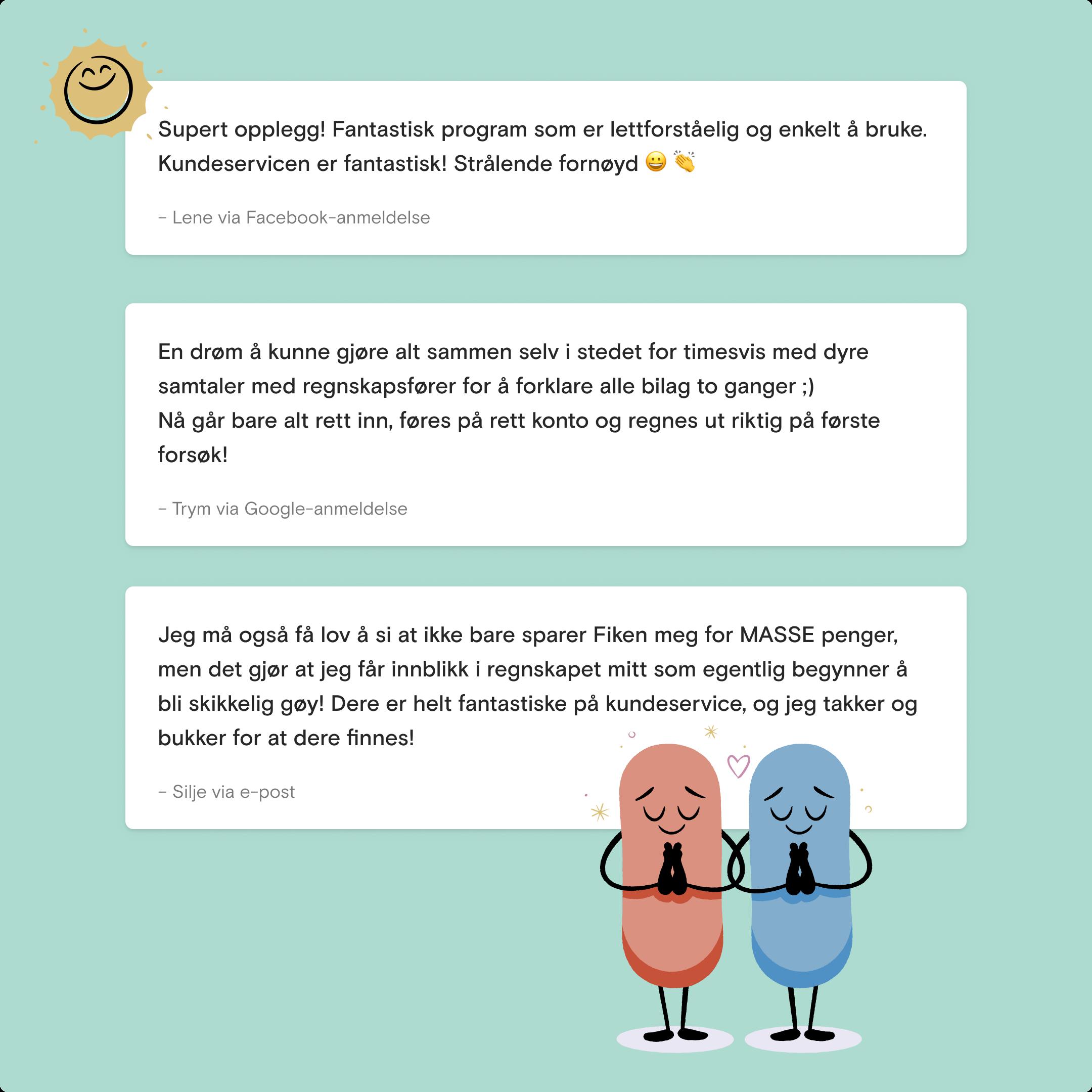 Illustrasjon som viser tre forskjellige tilbakemeldinger fra kunder.