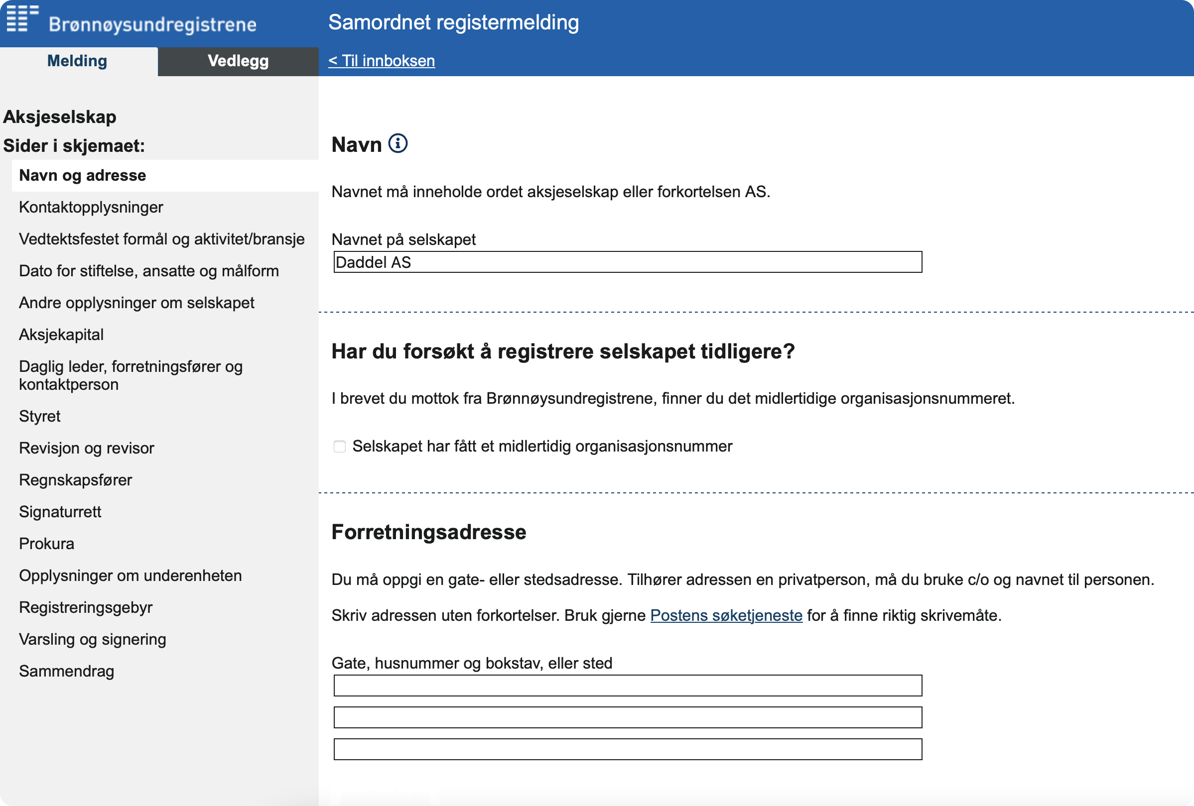 Skjermbilde som viser skjemaet Samordnet registermelding – brukes til registrering i foretaksregisteret.