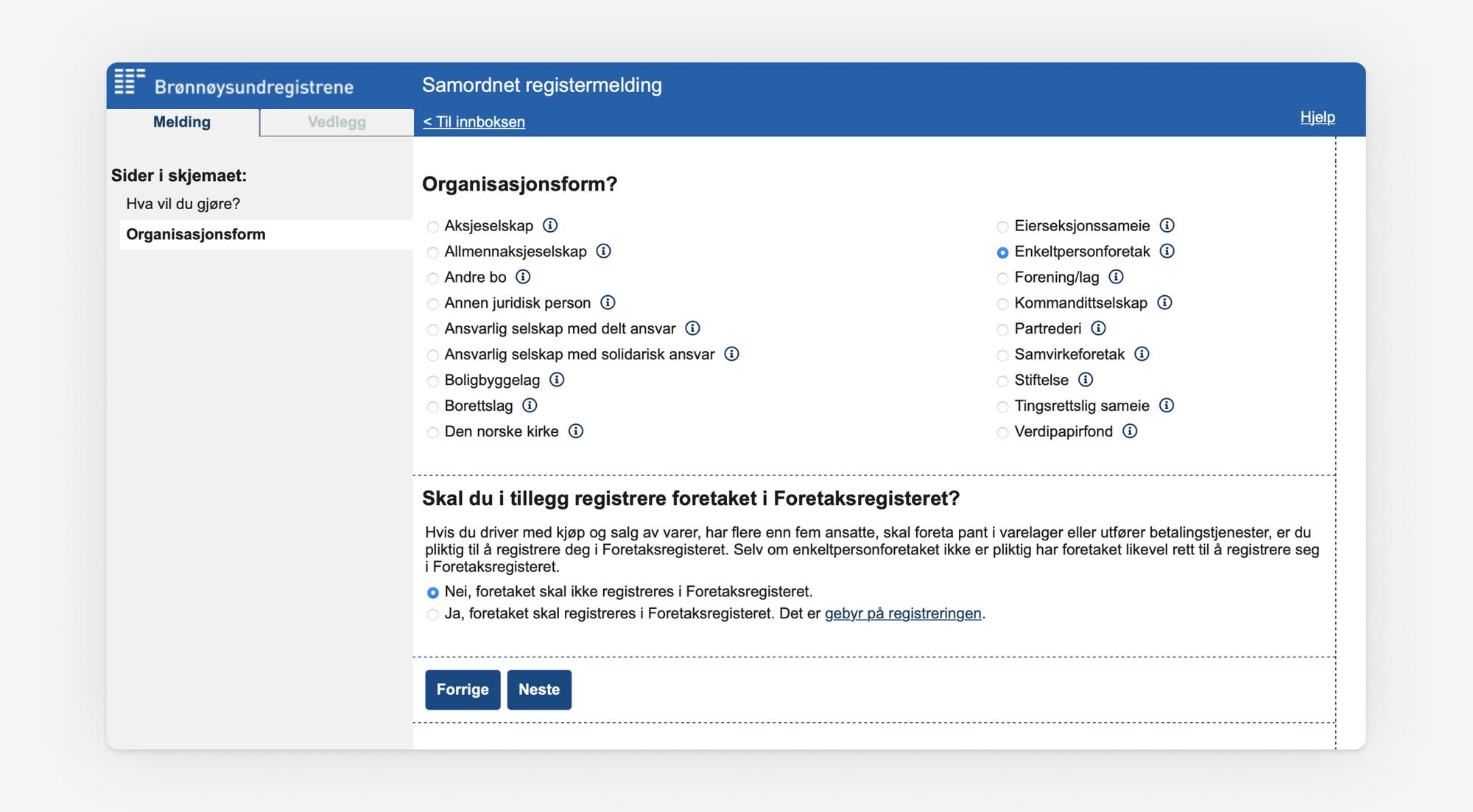 Skjermbilde som viser valg av organisasjonsform i Samordnet registermelding.