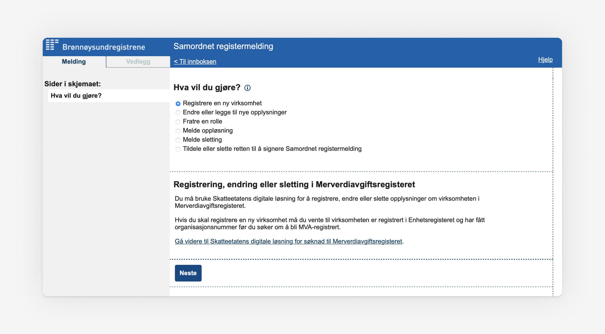 Skjermbilde som viser første steg i Samordet registermelding