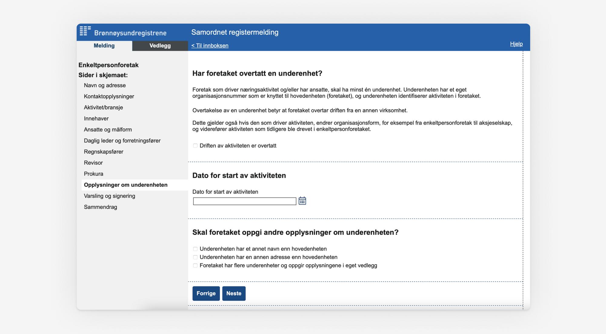Skjermbilde som viser punktet om Informasjon om underenhet i Samordnet registermelding