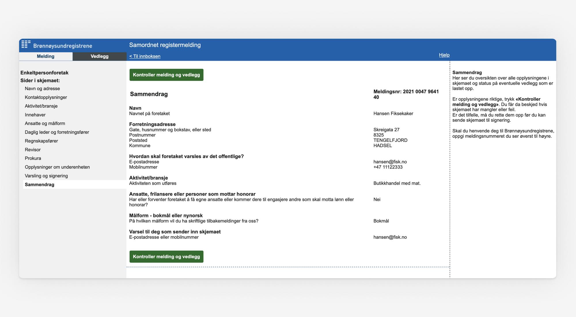 Skjermbilde som viser oppsummering og kontroll av Samordnet registermelding