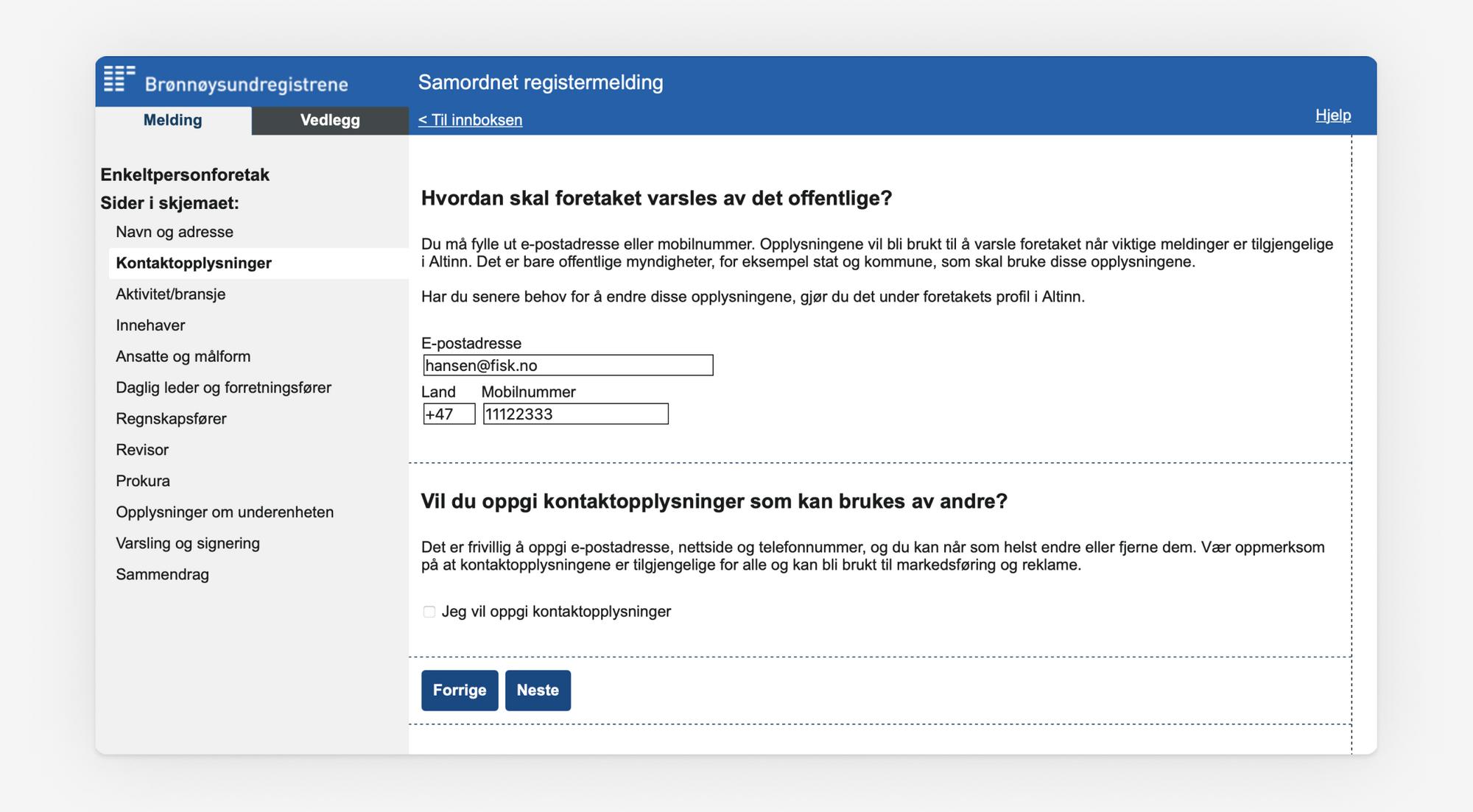 Skjermbilde som viser utfylling av kontaktopplysninger i Samordnet registermelding.