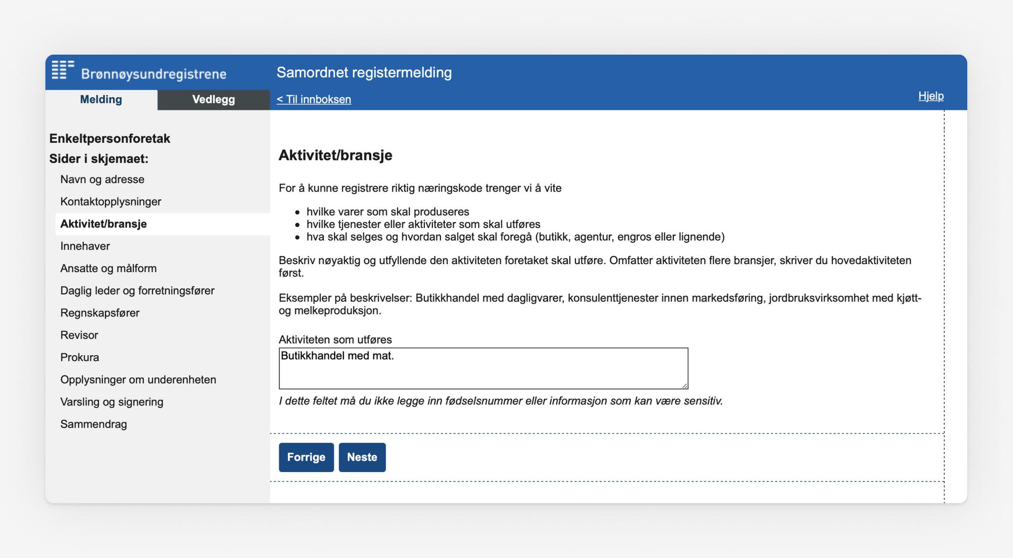 Skjermbilde som viser valg av aktivet/bransje i Samordnet registermelding