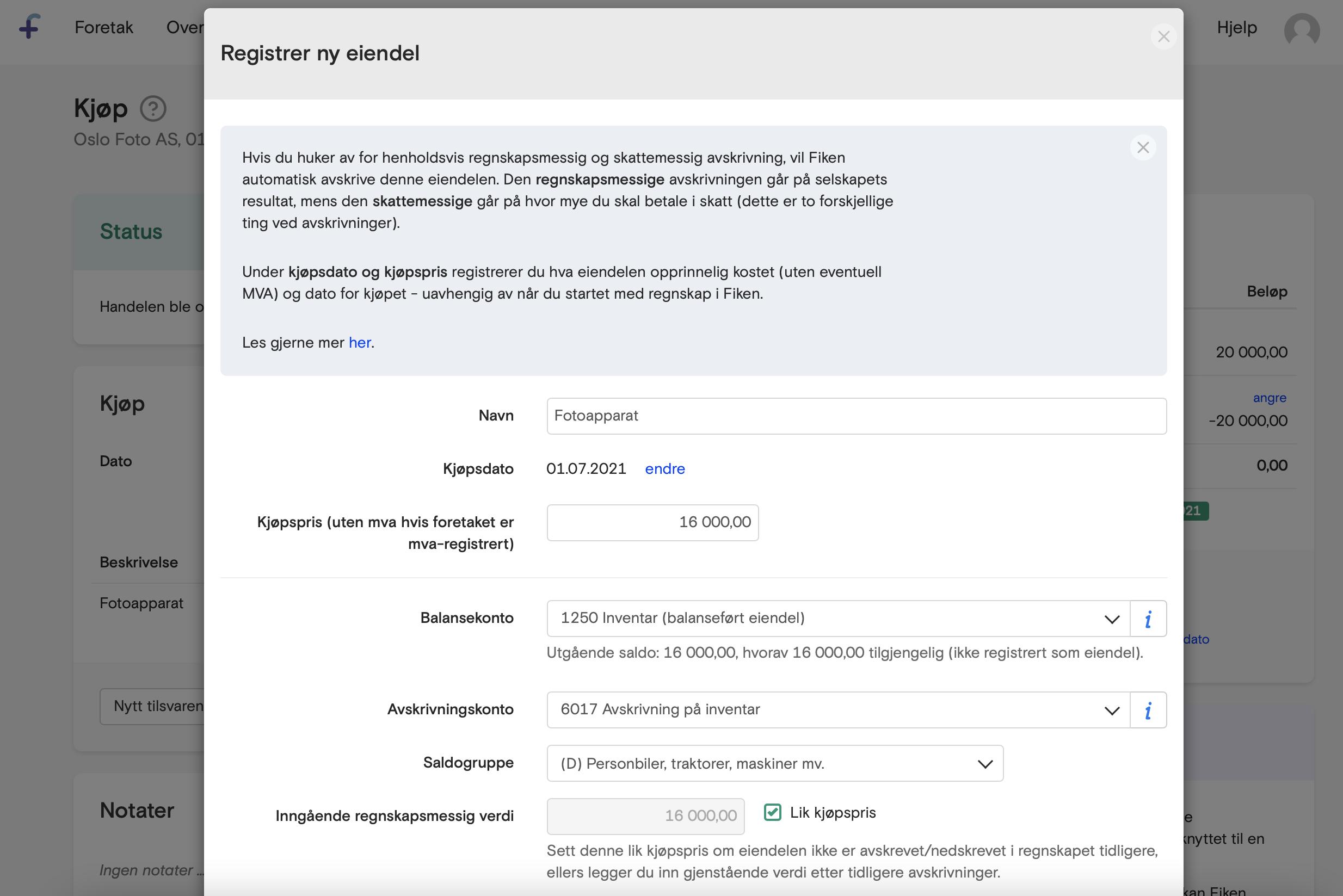 Skjermbilde som viser registrering av eiendel i Fikens eiendelsmodul