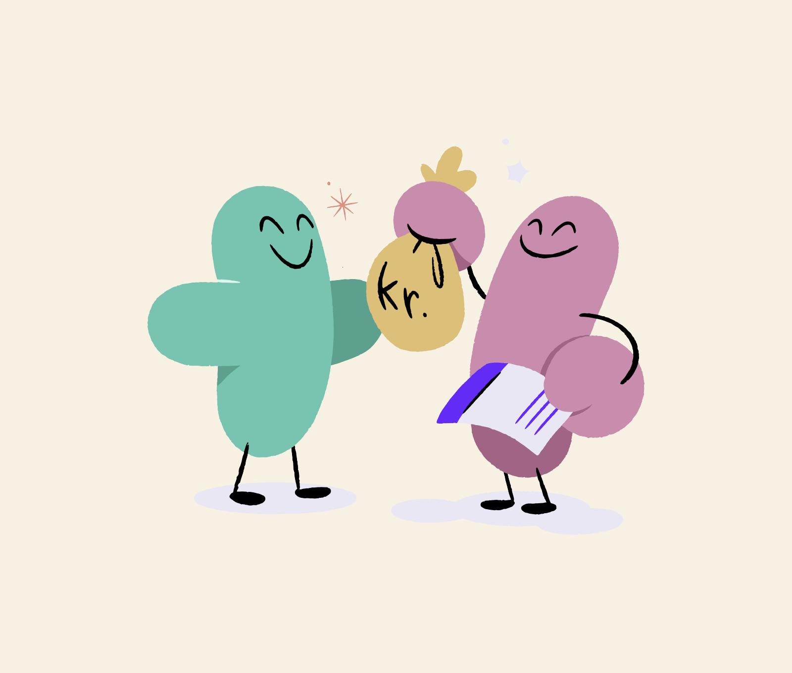 Illustrasjon som viser en figur som gir en annen figur en pengesekk.