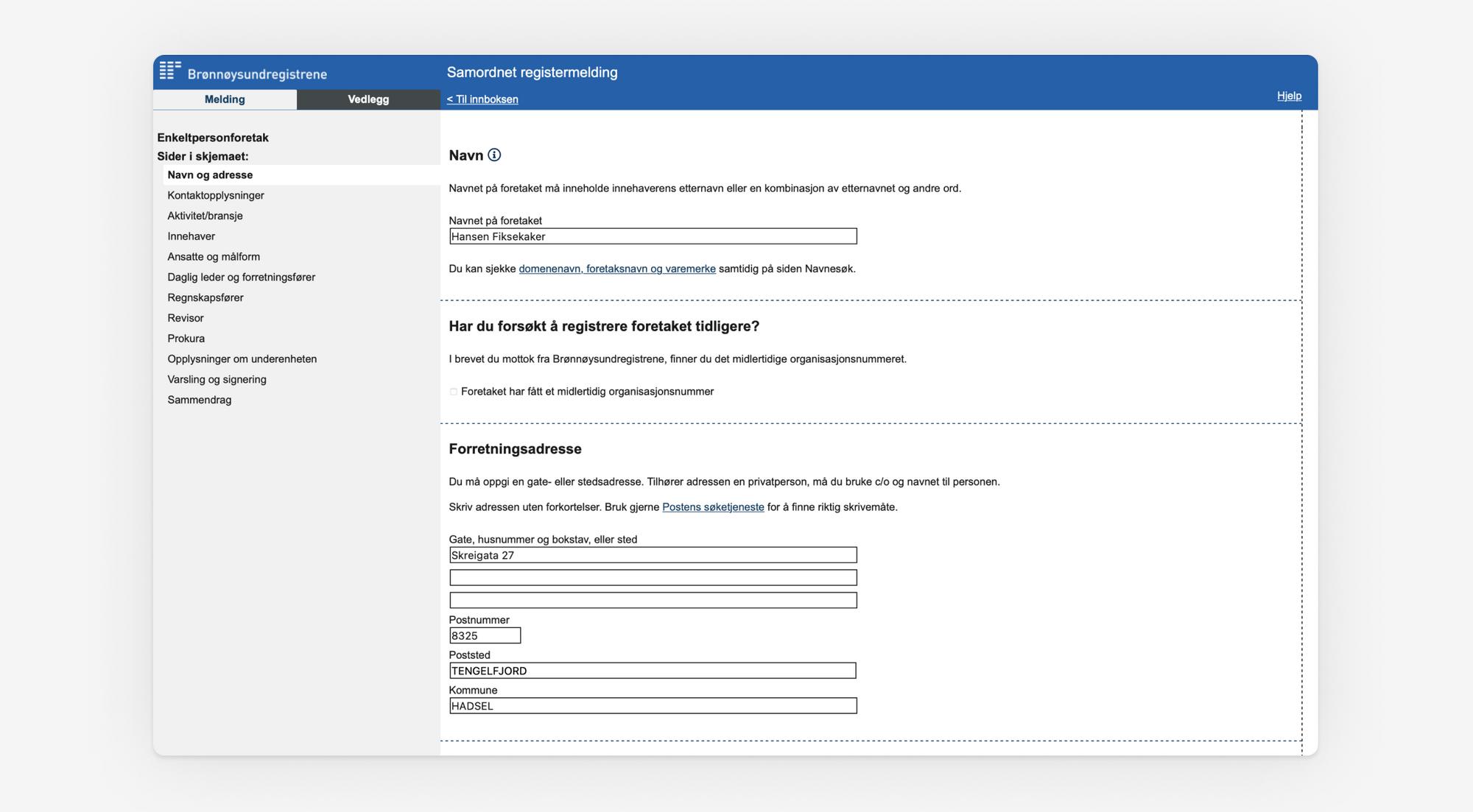Skjermbilde som viser utfylling av navn og adresse i Samordnet registermelding