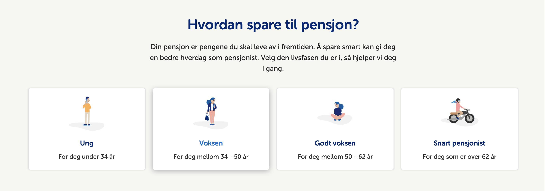 Skjermbilde fra bank, hvor du kan få informasjon om pensjon basert på din alder