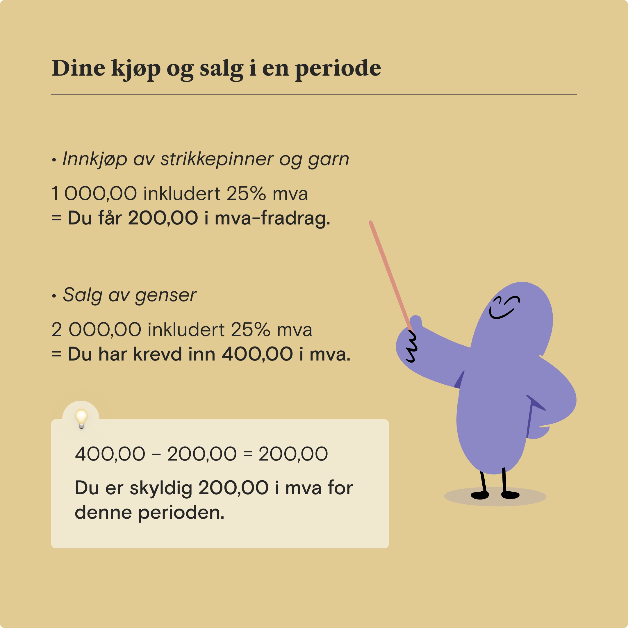 Illustrasjon som viser ekempel på eksempel på et mva-regnestykke